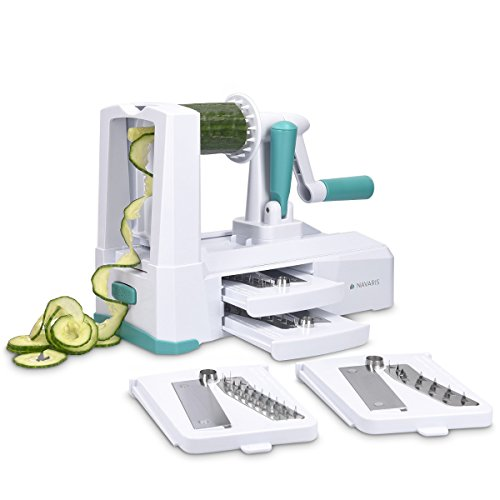 (Navaris Vegetable Spiralizer - 5 Blade Spiral Slicer Veggie Pasta Maker - Manual Food Mandoline with 5 Attachments and Stainless Steel Blades)