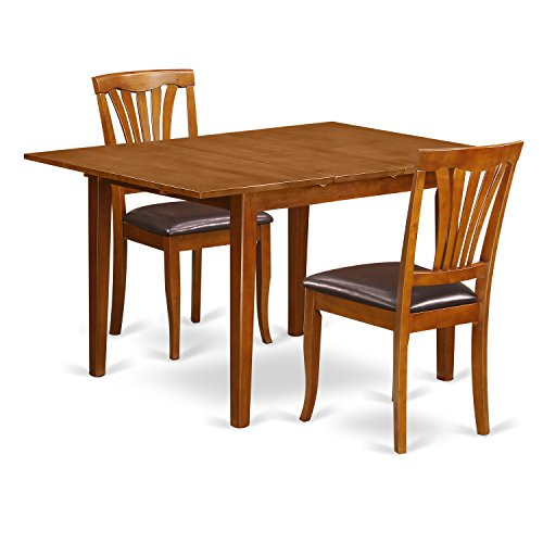 East West Furniture MLAV3-SBR-LC 3 Piece Set Milan Table With Leaf And 2 Leather Chairs In Saddle Brown Finish