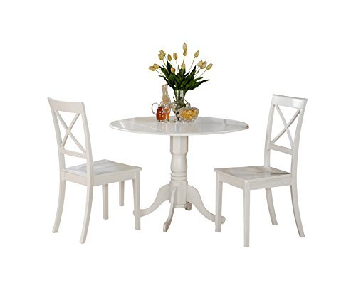 East West Furniture DLBO3-WHI-W 3 Pc Small Kitchen Table and