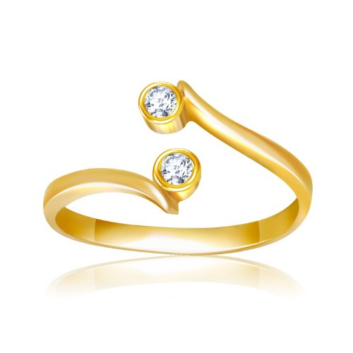 14K Yellow Gold Cubic Zirconia Accented Curve Ended Toe Ring by CoutureJewelers