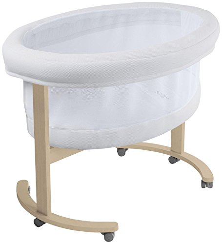 Micuna Smart Fresh Wooden and Fabric Bassinet, Natural/White