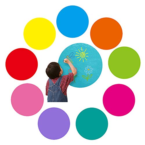 9 Pack Dry Erase Vinyl Dot Circles Sets Decals Removable with Marker Self Adhesive Dot Set Fit for Children Room Wall Stickers -