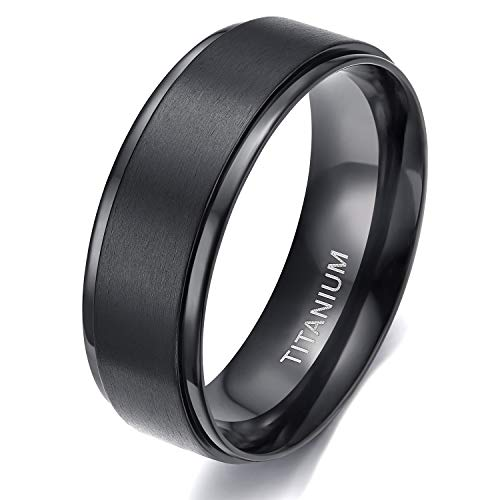 TIGRADE 4mm 6mm 8mm 10mm Black Titanium Rings Wedding Band Matte Comfort Fit for Men Women