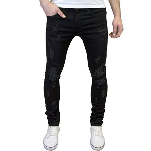 526Jeanswear Mens Designer Branded Super Skinny Biker Ripped Detailed Jeans (30W x 32L, Black)