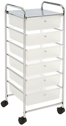 Seville Classics Large 6-Drawer Storage Bin Organizer Cart, Frosted White