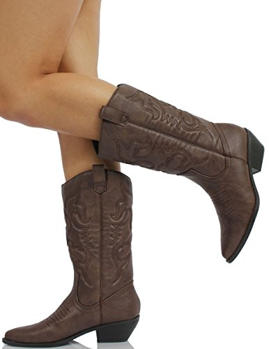 d75fc88cbd9 SODA Women's Reno Western Cowboy Pointed Toe Knee High Pull On Tabs Boots