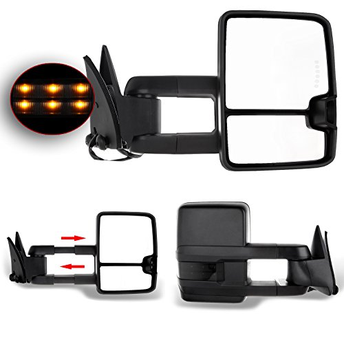 Chevrolet Gmc C K 1500 2500 3500 Truck 88 - 98 Towing Manual Power Signal Mirrors Pair Set (Black Cover) Gmc 3500 Truck Manual