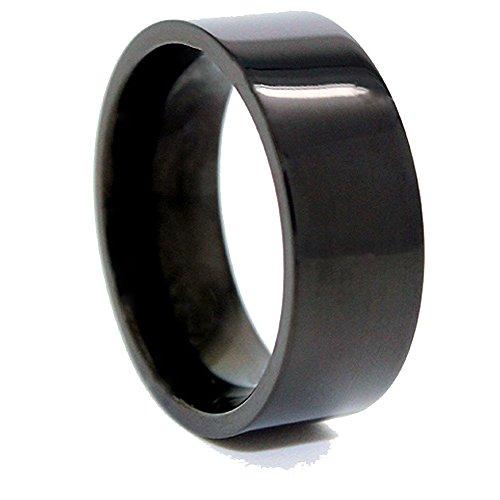 8mm Black Titanium Flat Pipe Ring Wedding Band Size (Domestic Pipe)