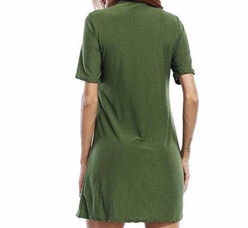 Dell'esercito Corta Domple Del Maglietta Up Del Manica Elegante Club Solido Womens Vestito Verde Pizzo Z1wzCqCdP