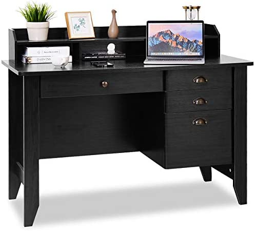 Tangkula Computer Desk, Home Office Desk, Wood Frame Vintage Style Student Table with 4 Drawers Bookshelf, PC Laptop Notebook Desk, Spacious Workstation Writing Study Table Black