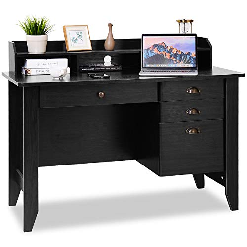 Tangkula Computer Desk, Home Office Desk, Wood Frame Vintage Style Student Table with 4 Drawers & Bookshelf, PC Laptop Notebook Desk, Spacious Workstation Writing Study Table (Black) ()
