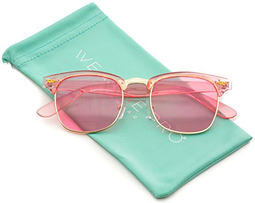 Transparent Frame Tinted Color Lens Semi-Rimless Style Chic Retro - Frame Glasses Color