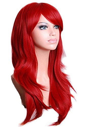 TopWigy Red Cosplay Wigs Women Long Wavy Synthetic Hair Colored Ariel Custome Party Wig (Red 28