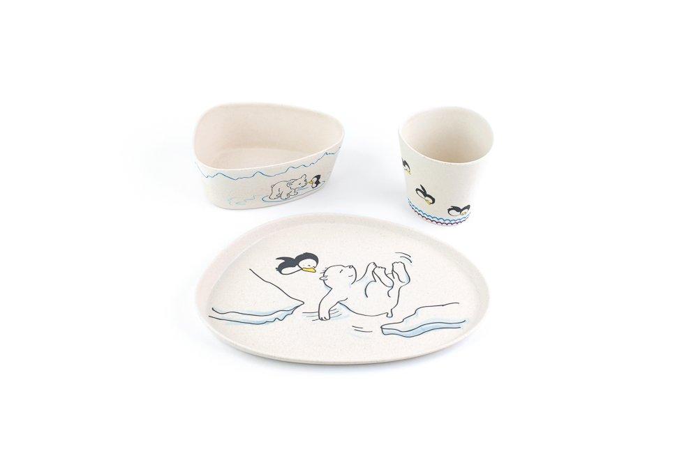 Peterson Housewares BF0263018S-43 3 Piece Kids Dinnerware Bamboo Fiber Set, Bear and Penguin by Peterson Housewares (Image #1)