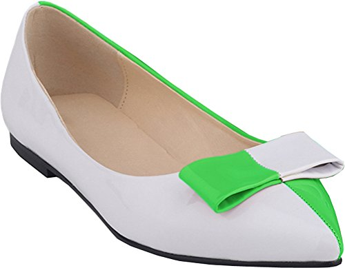 CFP YSE-020-1QP Womens Low Top Prevalent Lightweight Flat Boat Shoes Bowtie Shallow Mouth Breathable Pointy Toe Penny Loafers Non Skid Comfy Relaxing Slip On Slide Slippers Green Zzv6l3Sa
