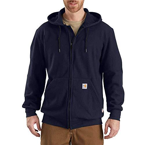 Nomex Heavyweight Hood - Carhartt Men's Big & Tall Flame Resistant Heavyweight Zip Sweatshirt, Dark Navy, Large