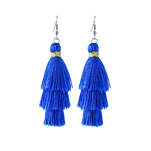 Vibrant Colorful Layered Tassel Tiered Thread Dangle Drop Earrings for Women (Royal blue) ()