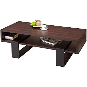 Amazon Com Haring Square Rotating Wood Coffee Table Kitchen Amp Dining