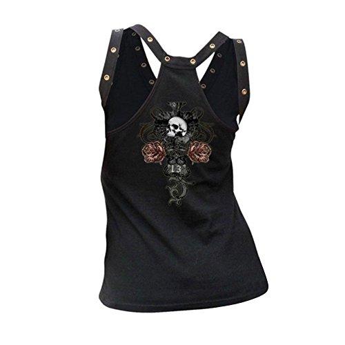 Boomboom Women Vest, Womens Summer Sleeveless Skull Printed Casual Vest