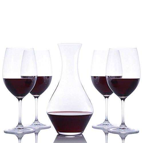 Riedel Crystal Cabernet Wine Decanter and 4 Crystal Riedel Vinum Cabernet Sauvignon/Merlot (Bordeaux) Stemmed Wine Glasses