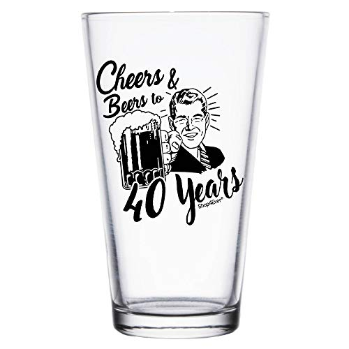 Shop4Ever Cheers & Beers To 40 Years Printed Beer Pint Glass ~ 40th Birthday Gift ~ (Blk, 40 Yrs)