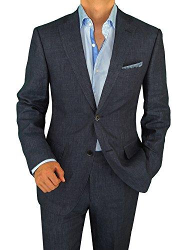 Bianco B Men's Linen Suit Modern Fit Two-Button Jacket Flat Front Pants Suit (42 Short US / 52 Short EU, Night Blue)