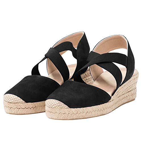 (FISACE Womens Strappy Slingback Espadrilles Platform Mid Wedge Sandal Cap Toe Elastic Band Criss Cross Summer Shoes Black, 7 M US)