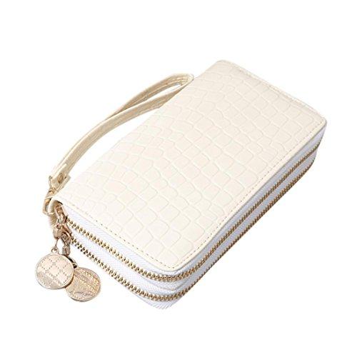 Frauen Mode Solide Doppel Pull Geldbörse Tasche Handytasche Geldbörsen  (Weiß) Weiß vcqDc0ptXR