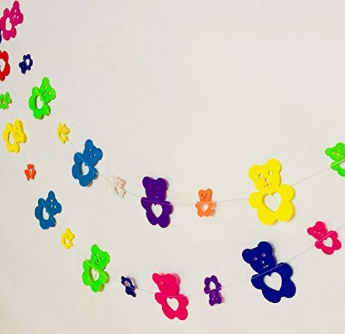 (Rainbow Teddy Bear Paper Garland Party Decorations - Birthday Decorations for Girls,Birthday Decoration Items,Birthday Decorations Materials,Marriage Decoration Materials)