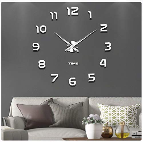Large 3 D Stickers - Vangold Frameless DIY Wall Clock, 2-Year Warranty 3D Mirror Wall Clock Large Mute Wall Stickers for Living Room Bedroom Home Decorations (Silver-42)