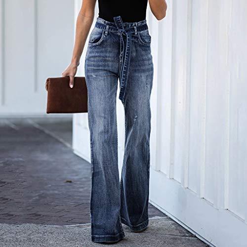 Gugavivid Pantalones de Mezclilla de Cintura Alta para Mujer ...