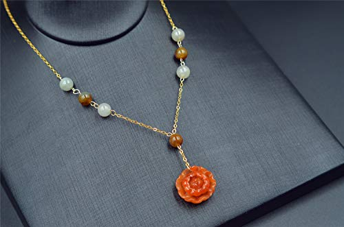 red jade necklace grade A natural jadeite flower pendant 14k filled yellow gold chain - Flowers Necklace Jade