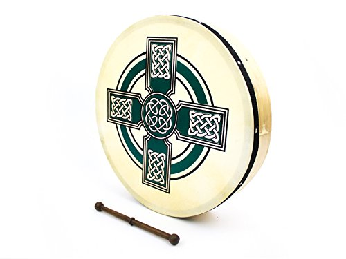ProKussion Green Celtic Cross Design 16'' Diameter Irish Bodhran and Beater by Pro Kussion