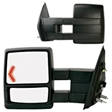 Fit System 61183-84F Black OE Style Passenger and Driver Side Extendable Towing Mirror Set for Ford F-150, Pair