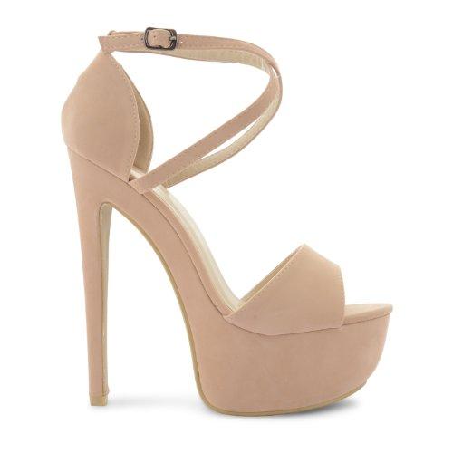 Footwear Sensation - Sandalias de vestir de sintético para mujer Beige - Nude Suede