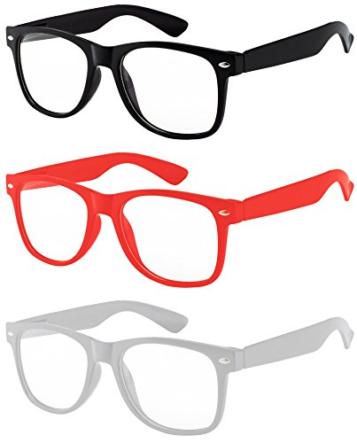 3 Pack Kids Clear Lens Sunglasses Protect Child's Eyes Black Red White