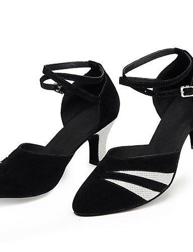 Flocking Gold Shoes Black And Shangyi Dance Swing Leatherette Modern Leather Latin Samba Non Women's Jazz Customizable IZq7R