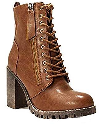 Soda Women's Malia Faux Leather Lace Up Chunky Ankle Boot(8 M US, Tobacco ISU)
