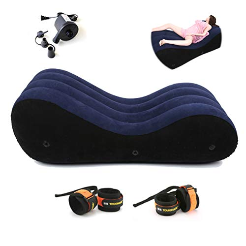 Inflatable Multifunctional Sofa - Yoga Chaise Lounge/Relax Chair - Sex Bed Sofa with Pump Handcuffs & Leg Cuffs- Portable Magic Cushion Ramp Body Pillow Inflatable Sex Furniture Lounger for Couples by HB-101
