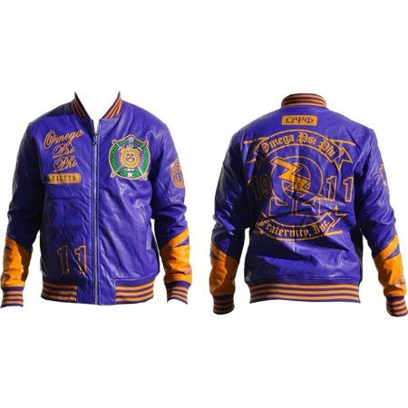 Mens Omega Psi Phi Men's PU Leather Jacket Purple Size 2XL