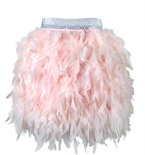 L'VOW Women's Sexy Mid Waist Mini A-line Feather Skirt for Party Wedding Halloween (Pink, L) -