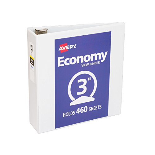 [Avery Economy View Binder, 3-Inch Capacity, 11 x 8-1/2 Inches, White, 05741] (3