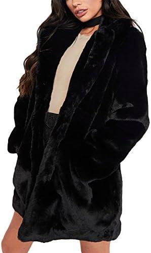 Remelon Womens Long Sleeve Winter Warm Lapel Fox Faux Fur Coat Jacket Overcoat Outwear with Pockets