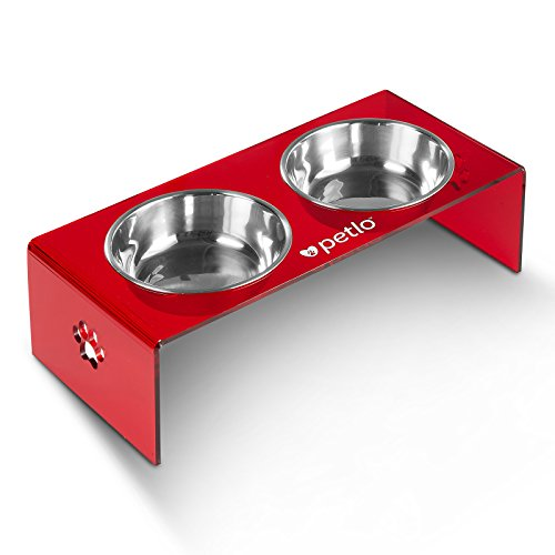 wls - Elevated Red Acrylic Feeding Stand with Two Stainless Steel Food and Water Bowls for Dogs and Cats - By Petlo (Raised Pet Feeding Stand)