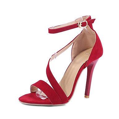 LvYuan Mujer-Tacón Stiletto-Zapatos del club Confort Tira en el Tobillo-Sandalias-Boda Fiesta y Noche Vestido-Vellón-Negro Rojo Black
