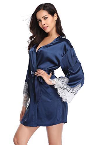 Santou Women's Lace Trim Kimono Robe Nightwear Nightgown Sleepwear Satin Short Robe Navy Blue XX-Large ()