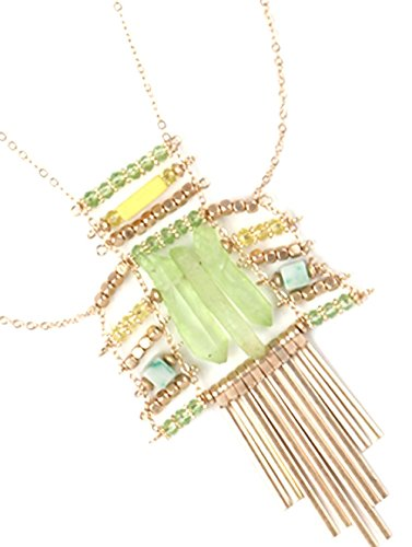 Fringe Beads Glass Matte - Natural Stone Metal Fringe Layered Matte Finish Metallic Bead Link Glass Bead Necklace