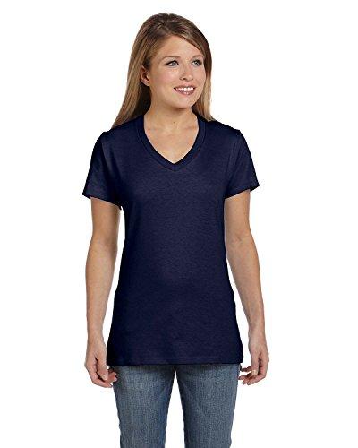 Hanes Ladies Ringspun Cotton Nano-T V-Neck T-Shirt, Navy, Large ()