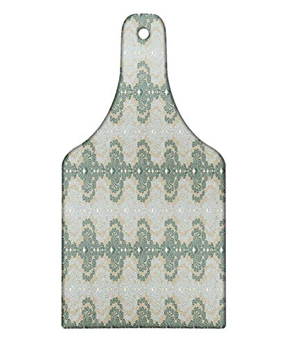 Ambesonne Floral Cutting Board, Abstract Art Damask Desgin Floral Ornament Background Wallpaper Pattern Print, Decorative Tempered Glass Cutting and Serving Board, Wine Bottle Shape, Blue and Taupe ()
