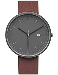 BIJOUONE B202 Minimalist Mens Grey Dial Stainless Steel Swiss Quartz Analog Calendar Brown Leather Watch